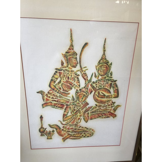 "Vintage Thai temple rubbing in excellent condition. This measures 23""x29"" overall. the image size is 22""x16"". Nicely..."