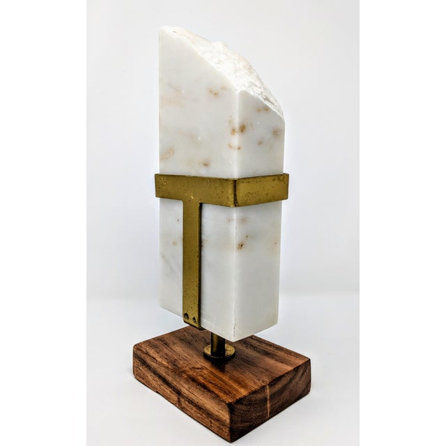 Early 21st Century White Marble, Brass and Wood Sculpture For Sale - Image 5 of 11
