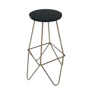 Eiffel Gold & Black Lacquered Mid Century Modern Bar Stool