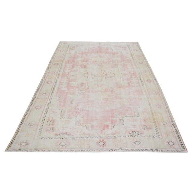 Vintage Turkish Anatolian Oushak hand knotted rug with natural colors and fine weave.