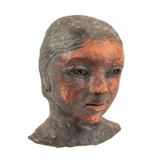 Ceramic Art Pottery Bust of Young Girl Signed Berne For Sale