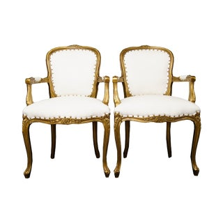 Late 20th Century Louis XV Gold and White Chairs - a Pair For Sale