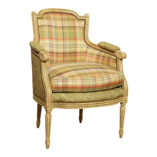 Hickory White French Louis XVI Style Paint Frame Bergere Chair For Sale