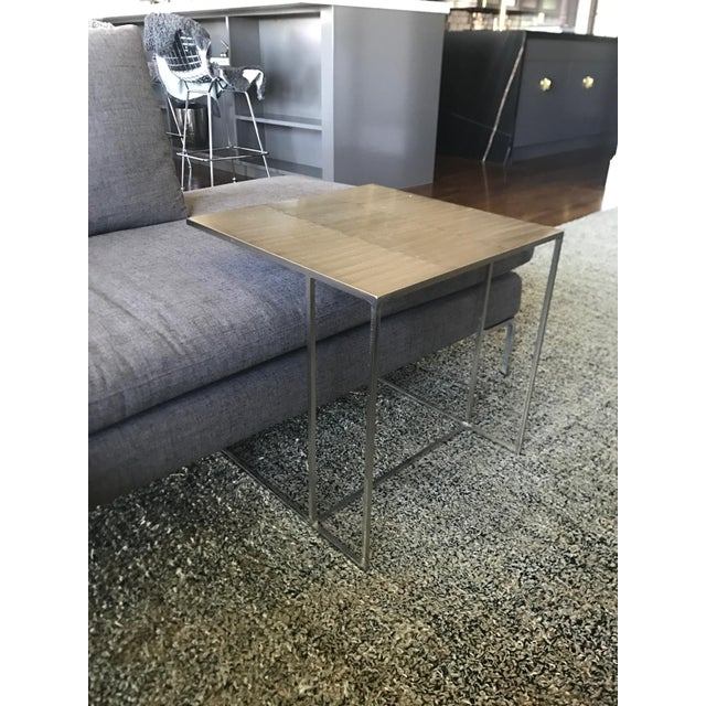 Contemporary Minotti Leger Brushed Plate Metal Side Table For Sale - Image 3 of 4