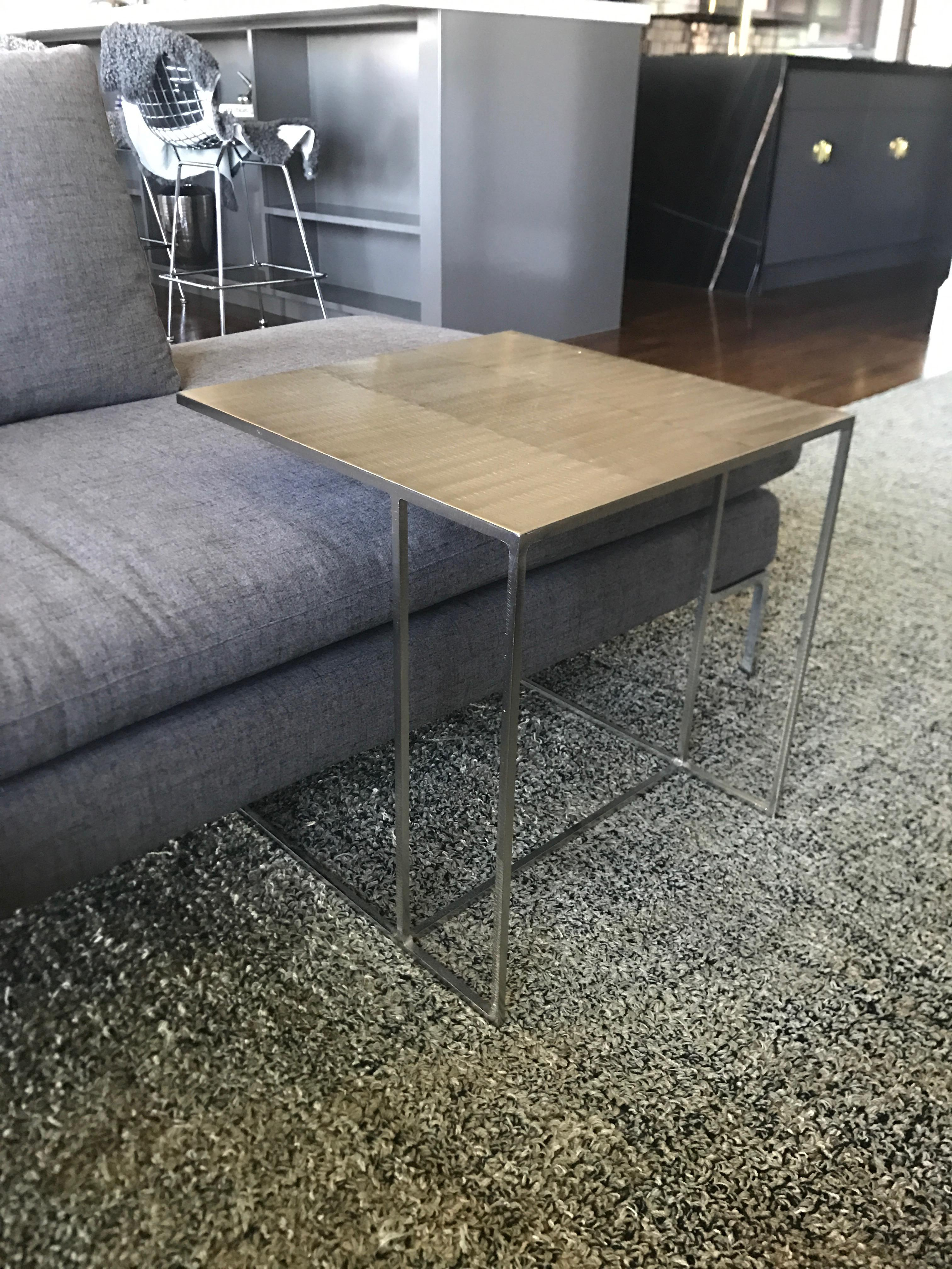 Minotti Leger Brushed Plate Metal Side Table   Image 3 Of 4