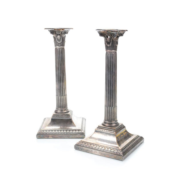 19th Century Silver Column Candleholders - A Pair - Image 1 of 9