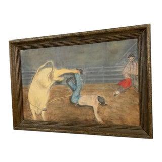 1960s Folk Art Cowboy Chalk Drawing, Framed For Sale