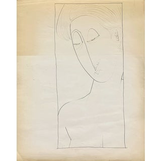 """Donald Stacy """"Matisse Like Face"""" C. 1950s Ink Mid Century Portrait Drawing For Sale"""
