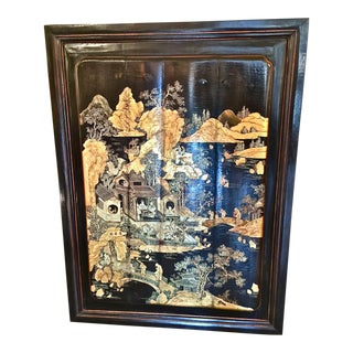 Antique Chinoiserie Coromandel Lacquer Panel