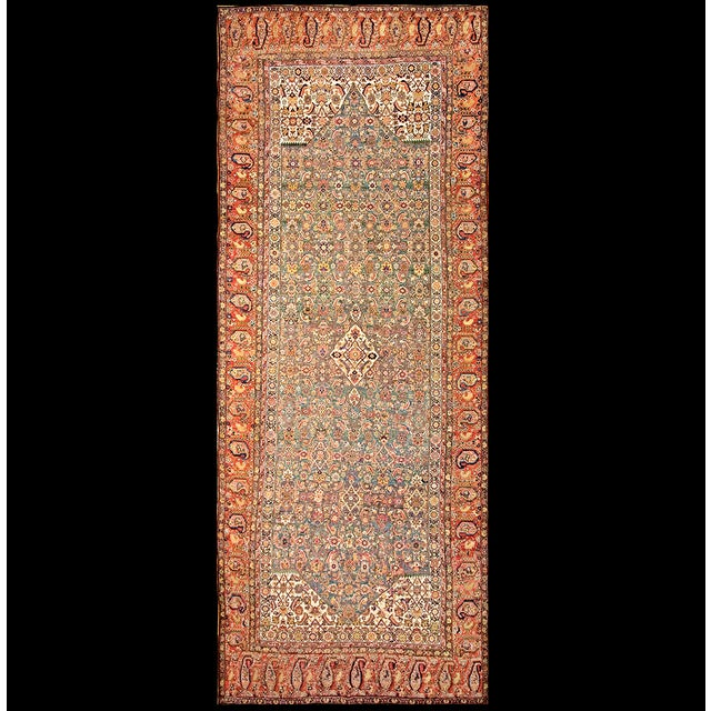 """Beige Antique Nw Persian Rug 6'10"""" X 17'0"""" For Sale - Image 8 of 8"""