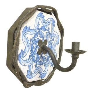 Mediteranian Iron & Ceramic Sconce For Sale