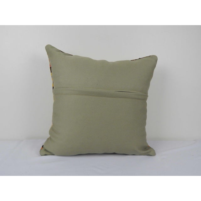"1960s Vintage Turkish Hemp Kilim Pillow 18"" X 18"" For Sale - Image 5 of 6"