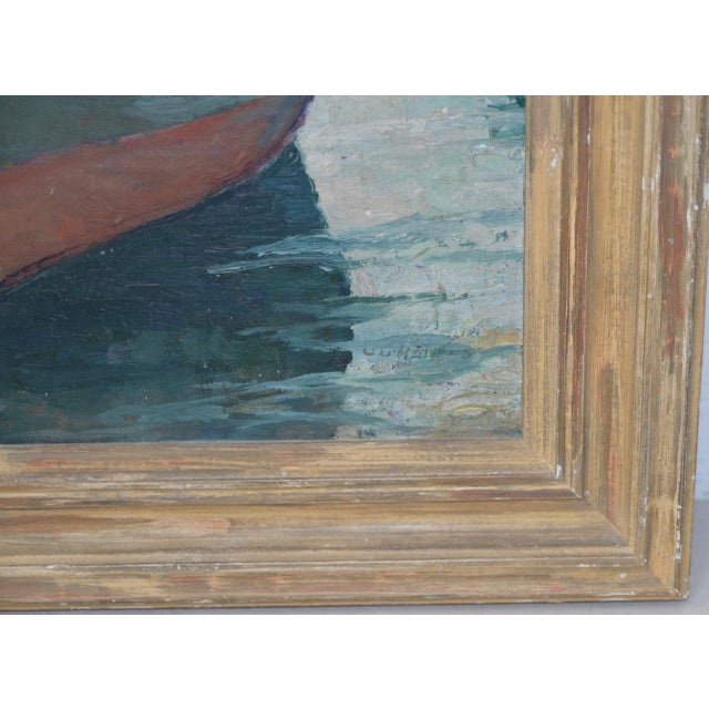 """Impressionism Unidentified Impressionist """"Starboard Bow at Harbor"""" Oil Painting C.1940s For Sale - Image 3 of 9"""
