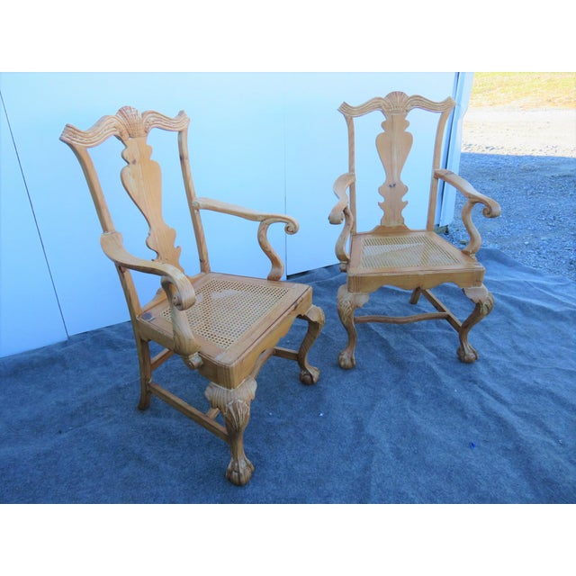Chippendale Early 20th Century English Pine Chippendale Carved Arm Chairs - a Pair For Sale - Image 3 of 9