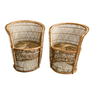 Vintage Petite Bohemian Barrel Woven Wicker Chairs - a Pair