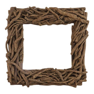 Organic Square Driftwood Mirror For Sale
