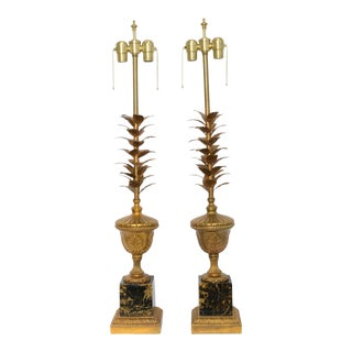 1950s Mid-Century Modern Gilt and Faux Marble Table Lamps - a Pair For Sale