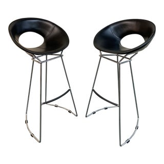 Modern Fasem Leather Apple Juice Bar Stools- A Pair For Sale