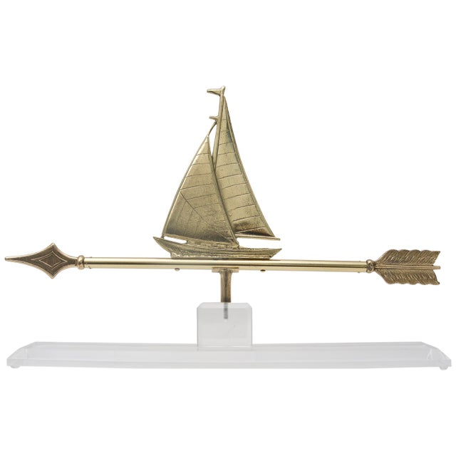 Metal 1940s American Polished Brass Sailboat Weather Vane on Lucite Base For Sale - Image 7 of 7