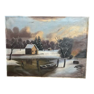 19th/20th Century Naive Winter Landscape