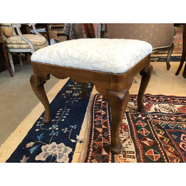 19th Century Walnut Queen Anne Revival Style Stool For Sale - Image 9 of 9