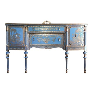 1940s Chinoiserie Inspired Blue Credenza For Sale
