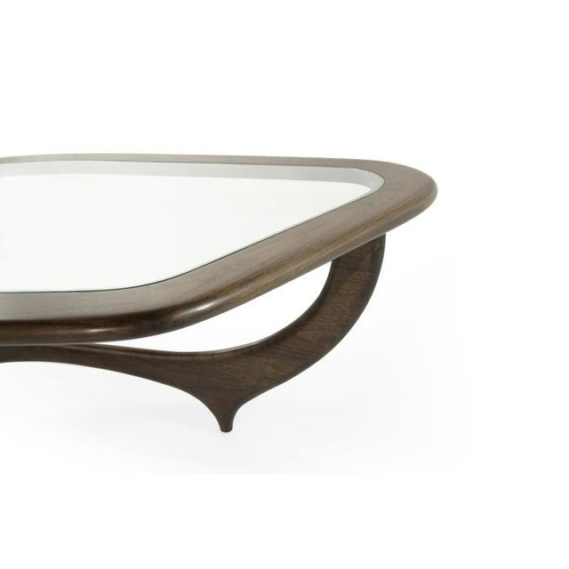Glass Large Scale Sculptural Walnut Coffee Table, Italy, 1950s For Sale - Image 7 of 13