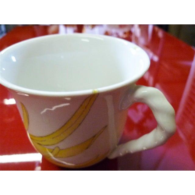 Modern Ernestine Ceramics, Salerno, Italy 1960s, 5 Cups Saucers Plus Creamer Chrysantemum Pattern - Set of 12 For Sale - Image 9 of 12