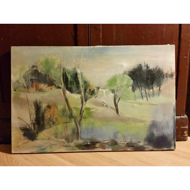Mid-Century Impressionist Landscape Oil Painting - Image 2 of 6