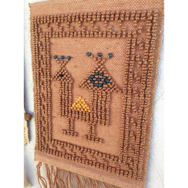 Rustic Exotic Bird Jute Wall Hanging Art For Sale - Image 4 of 5