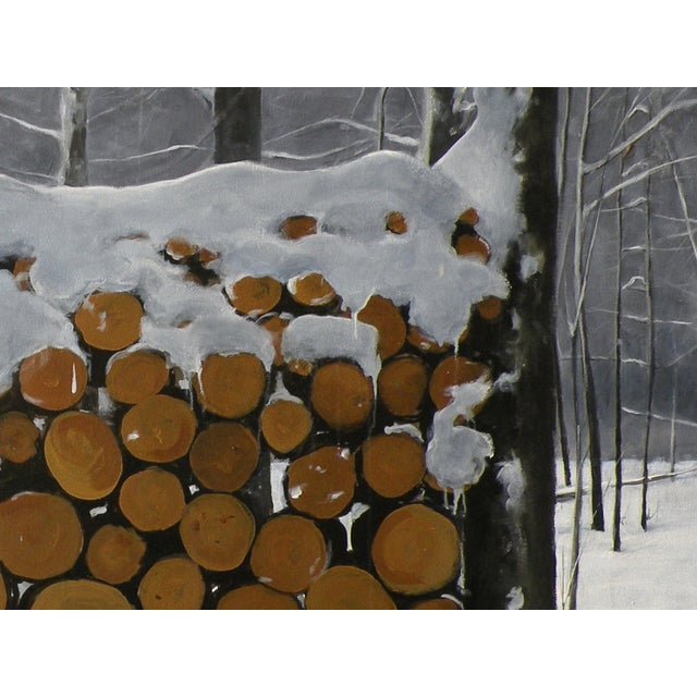 Landscape Painting of a Wood Pile in Snow - Image 5 of 7