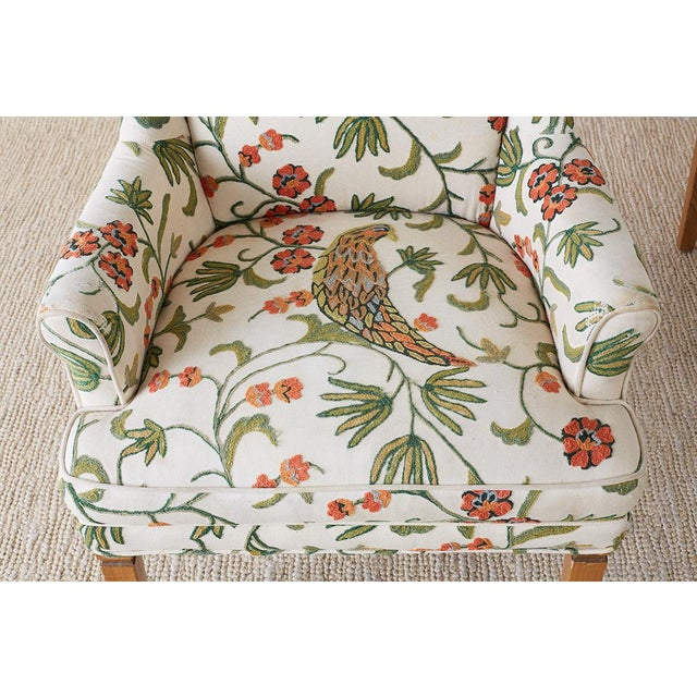 Mid 20th Century Pair of English Style Crewel Work Wing Chairs For Sale - Image 5 of 13