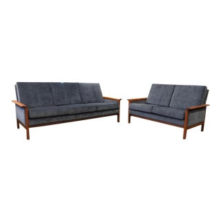 Mid Century Danish Hans Olsen for Vatne Møbler Teak Velvet Sofas- a Pair For Sale