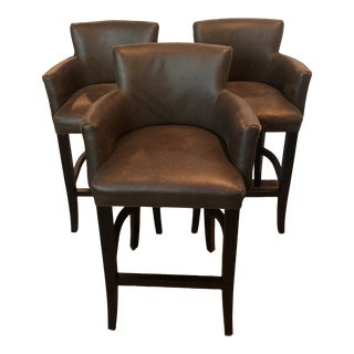 Duralee Leather Bar Stools With Armrests - Set of 3 For Sale