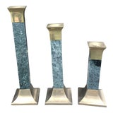 Image of 1980s Brass Lacquer Marble Candlesticks - Set of 3 For Sale