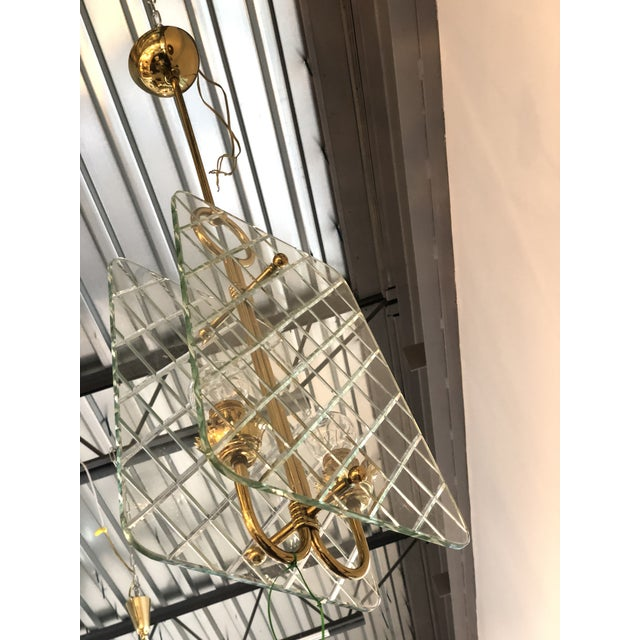 Mid Century Modern Italian Cut Crystal & Brass Chandelier by Pietro Chiesa for Fontana Arte - Image 6 of 9