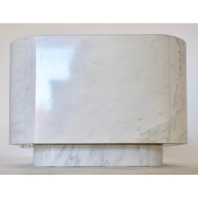White Marble Plinth Base Table For Sale - Image 7 of 7