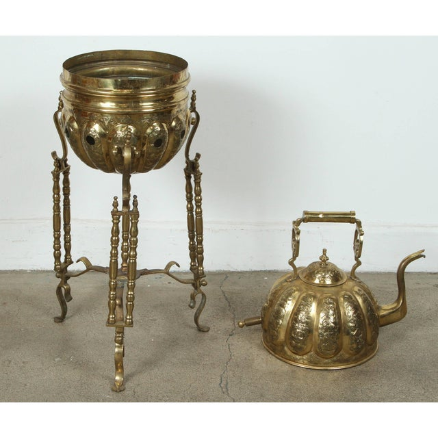 Brass Moroccan Brass Kettle on Stand Handcrafted in Fez Morocco For Sale - Image 7 of 11