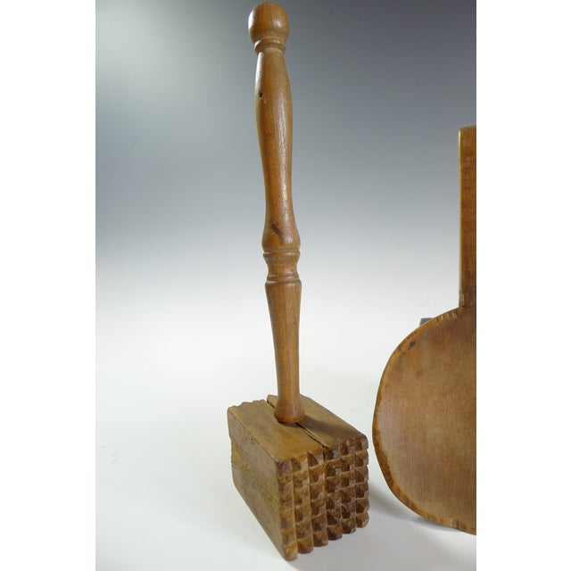 Antique Primitive Amish Wood Butter Paddle & Masher - A Pair - Image 3 of 6