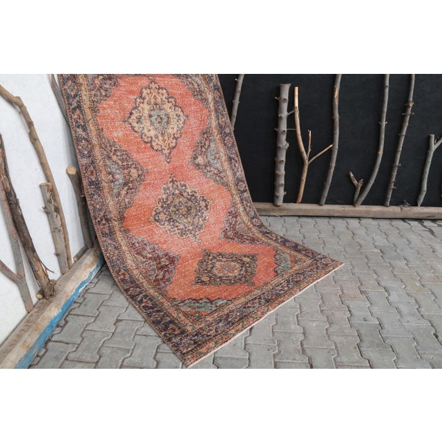 """1960's Vintage Turkish Hand-Knotted Wide Runner Rug - 4'4"""" X 12'5"""" For Sale - Image 9 of 11"""