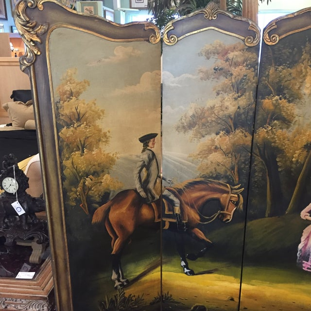 British Colonial Hand Painted Colonial Scene Divider Screen For Sale - Image 3 of 11