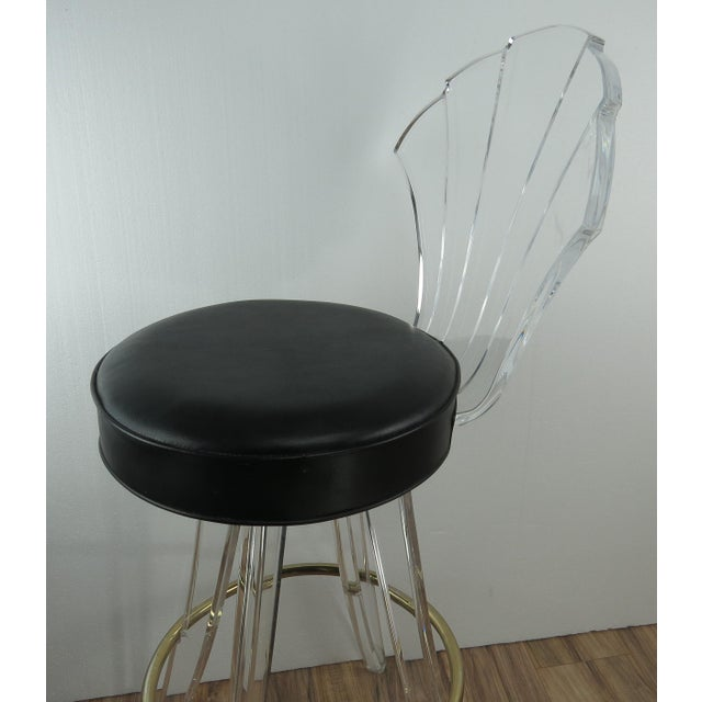 1970s 1970s Vintage Charles Hollis Jones Style Lucite Bar Stool For Sale - Image 5 of 13