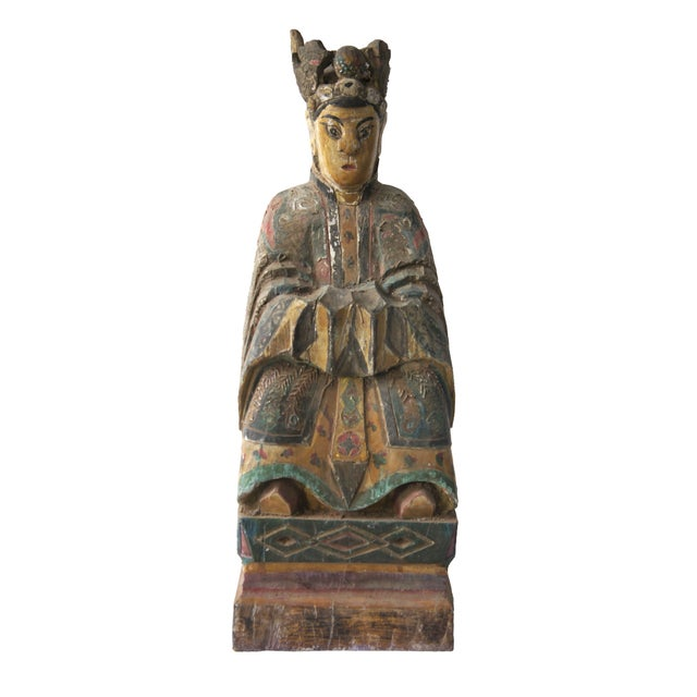 Qing Dynasty Carved Wooden Ancestor Sculpture - Image 1 of 2
