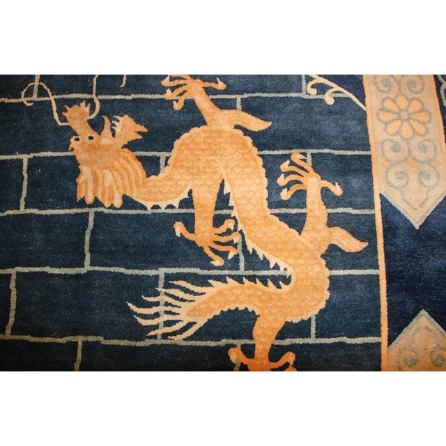 Gold Chinese Art Deco Blue Rug - 12′ × 15′4″ For Sale - Image 8 of 10
