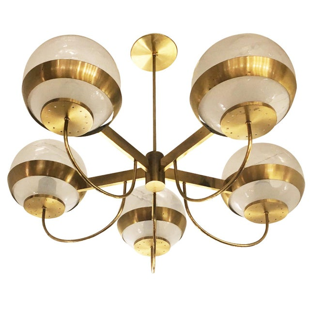 1960s Brass Chandelier by Lamperti, Italy, 1960s For Sale - Image 5 of 7