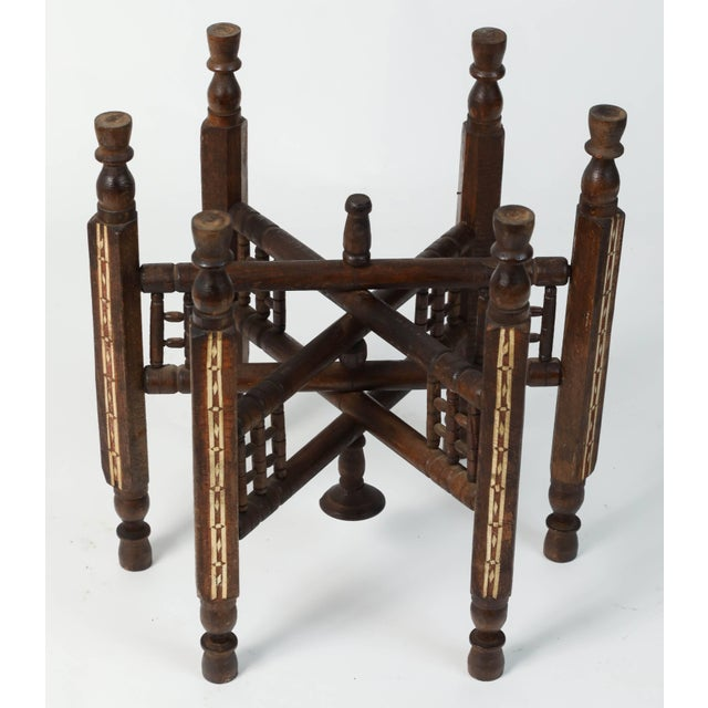 Middle Eastern Syrian Antique Brass Tray Table With Wooden Folding Stand For Sale In Los Angeles - Image 6 of 9