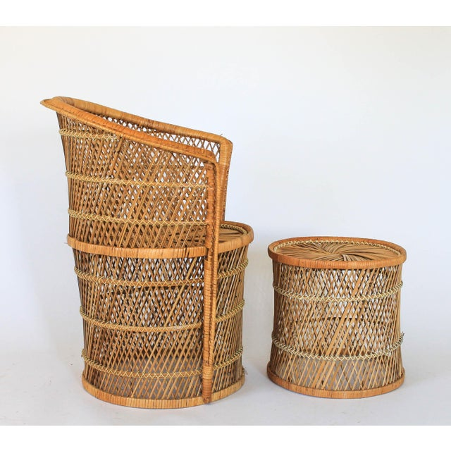 Boho Style Wicker Chair and Table For Sale - Image 4 of 10