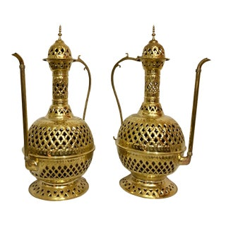 Large Tea Pot Aladdin Gold Brass Hand-Crafted Floor or Table Lamps - a Pair For Sale