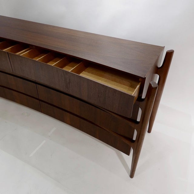 William Hinn Scandinavian Mid-Century Modern Stilted Curved Chest or Dresser For Sale - Image 11 of 13