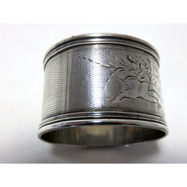 """Antique American Victorian sterling silver napkin ring with Hand Engraved Features. Presentation monogrammed """"L A Y from J..."""